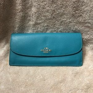 Slim coach turquoise wallet